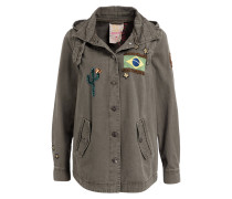 Fieldjacket mit Stickerei - oliv