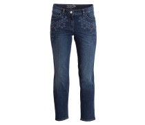 Jeans mit Stickereien - denim blau