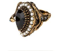 Ring - altgold/ schwarz/ ivory