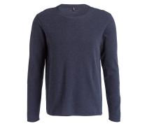 Pullover in Strukturstrick - dunkelblau