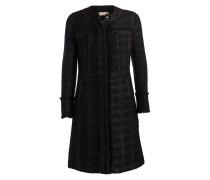 Tweed-Mantel - schwarz metallic