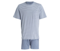 Shorty-Schlafanzug - blaugrau/ hellblau