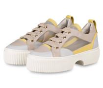 Plateau-Sneaker - BEIGE/ WEISS