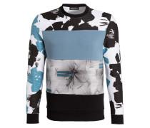 Sweatshirt - weiss/ schwarz/ blau
