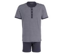 Shorty-Schlafanzug - anthrazit/ weiss