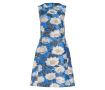 Kleid - blau/ creme/ gold metallic