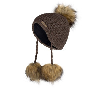 Mütze mit Alpaka-Anteil und Kunstpelzbommel