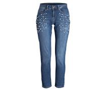 Jeans mit Perlenbesatz