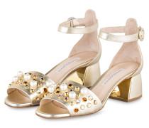 Sandalen mit Schmucksteinbesatz - gold