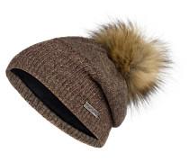 Mütze mit Mohair-Anteil und Kunstpelzbommel