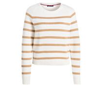 Pullover ROXANNE - weiss/ beige gestreift