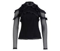 Shirt in Netzoptik - schwarz