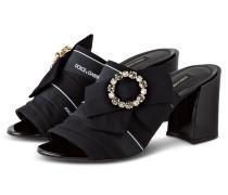 Sandalen mit Schmucksteinbesatz - SCHWARZ