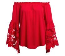 Off-Shoulder-Bluse mit Spitzenbesatz - rot