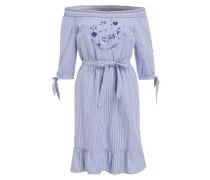 Off-Shoulder-Kleid - blau/ weiss gestreift