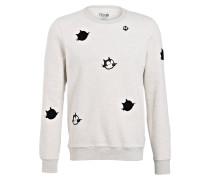 Sweatshirt mit Patches - ecru meliert