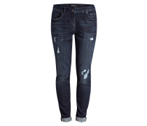 Destroyed-Jeans - dark blue denim