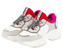 Plateau-Sneaker - weiss/ rot/ grau