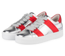 Plateau-Sneaker UP - SILBER/ ROT