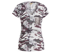 T-Shirt FOXY - creme/ dunkelgrün/ grau