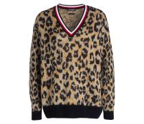 Pullover AKINA - hellbraun/ schwarz/ rot