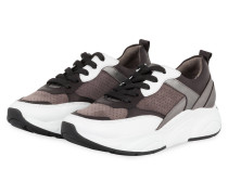 Sneaker CALF - TAUPE/ DUNKELBRAUN/ WEISS
