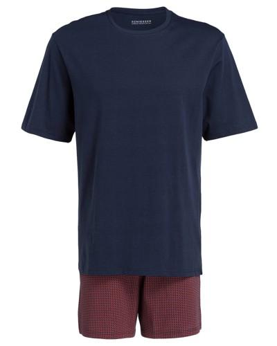 Shorty-Schlafanzug - dunkelblau/ burgunder