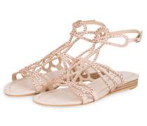 Sandalen mit Strasssteinbesatz - ROSÉ