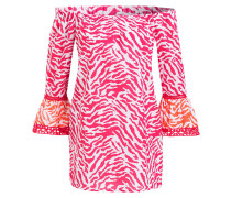 Off-Shoulder-Bluse - weiss/ pink/ orange