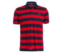Piqué-Poloshirt - rot/ blau/ gestreift