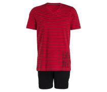 Shorty-Schlafanzug - rot/ schwarz