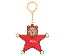 Schlüsselanhänger STAR BEAR - rot/ cognac
