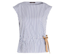 Bluse - navy/ weiss