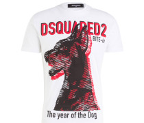 T-Shirt - weiss/ rot/ schwarz