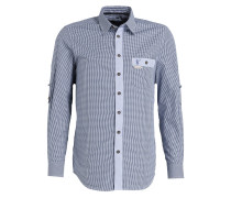Trachtenhemd - blau kariert