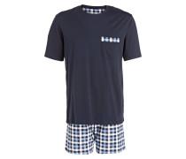 Shorty-Schlafanzug - blau/weiss