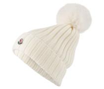 Mütze mit Pelzbommel - ecru