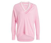 Pullover mit Cashmere-Anteil - rosa/ weiss