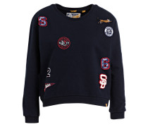 Sweatshirt mit Patches - dunkelblau