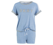 Shorty-Schlafanzug - hellblau meliert