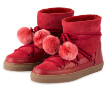 Fell-Boots CLASSIC mit Pompons - ROT