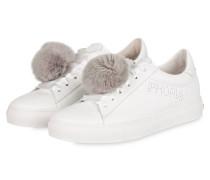 Sneaker BASKET mit Fell-Pompon - WEISS