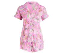 Shorty-Schlafanzug - pink/ gelb/ hellblau