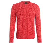 Pullover HOWARD mit Zopfmuster - rot