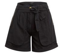 Paperbag-Shorts mit Leinen