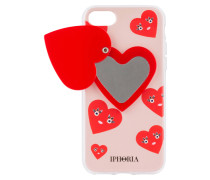 iPhone-Hülle CUTE HEARTS - rot/ hellrosa