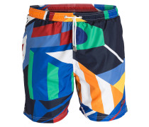 Badeshorts - blau/ weiss/ orange