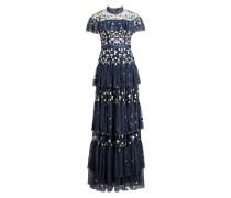 Abendkleid mit Stickereien - blau