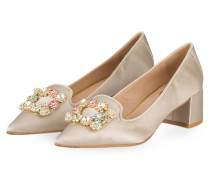 Satin-Pumps - SAND