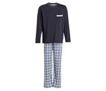 Schlafanzug - navy/weiss